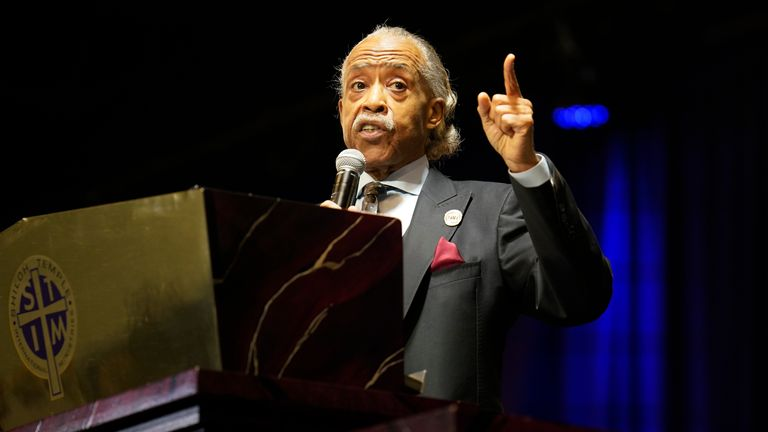 Al Sharpton speaks during the funeral. Pic: Associated Press