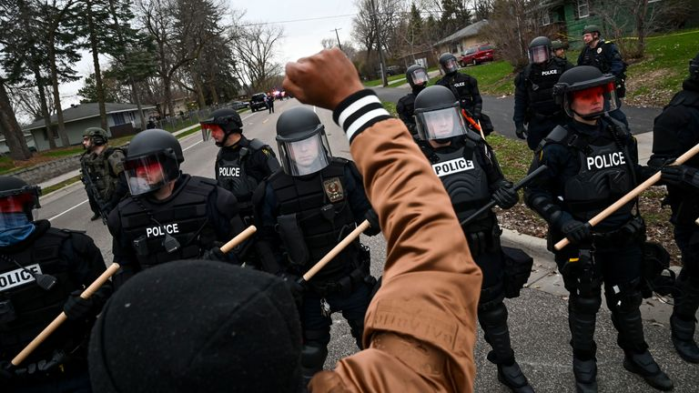Protesters and police have faced off following the death of Daunte Wright