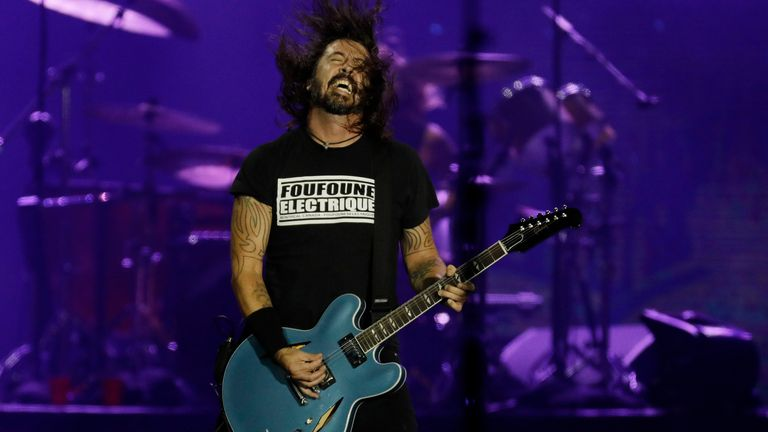Dave Grohl of the band Foo Fighters performs at the Rock in Rio music festival in Rio de Janeiro, Brazil, Sunday, Sept. 29, 2019. (AP Photo/Leo Correa)