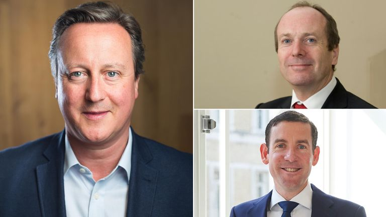 David Cameron, Bill Crothers and Lex Greensill. Pics: PA/Ian Tuttle/Shutterstock