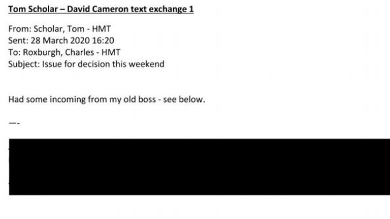 Treasury document revealing text echange between officials and David Cameron