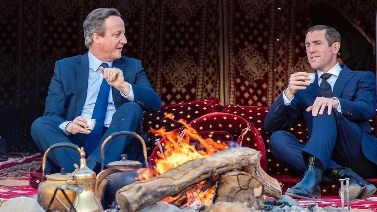 David Cameron and Lex Greensill on a trip to Saudi Arabia in January last year