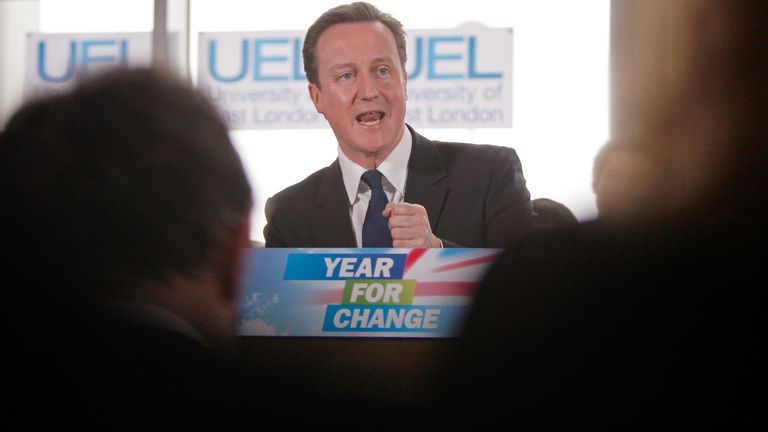 Britain's leader of the opposition Conservative party David Cameron gestures during an address on political reform and MP's expenses at the University of East London February 8, 2010. Cameron launched a personal attack on Prime Minister Gordon Brown on Monday over the parliamentary expenses scandal, raising the heat of pre-election rhetoric as Conservative poll ratings continued to sag. REUTERS/Andrew Winning (BRITAIN - Tags: POLITICS ELECTIONS)