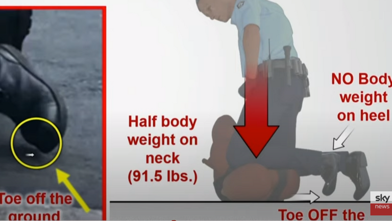 Diagram shown to Derek Chauvin jury of police officer's boot during George Floyd's arrest. Grab from Sky TV footage of trial