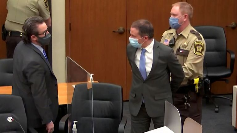 Former Minneapolis police officer Derek Chauvin is led away in handcuffs after being convicted of murdering George Floyd