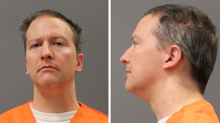 Former Minneapolis Police Officer Derek Chauvin is shown in a combination of police booking photos after a jury found him guilty on all counts in his trial for second-degree murder, third-degree murder and second-degree manslaughter in the death of George Floyd in Minneapolis, Minnesota, U.S. April 20, 2021. Picture taken April 20, 2021 and released on April 21, 2021. Minnesota Department of Corrections/Handout via REUTERS THIS IMAGE HAS BEEN SUPPLIED BY A THIRD PARTY.