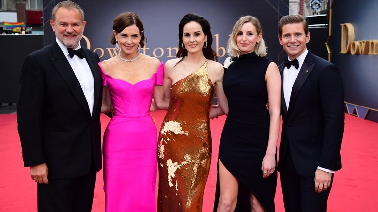 Stars Hugh Bonneville, Elizabeth McGovern, Michelle Dockery Laura Carmichael and Allen Leech (left to right)