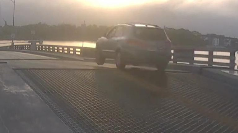 Car jumps opening drawbridge in Florida