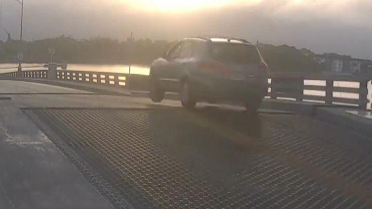 Car jumps opening drawbridge in Florida