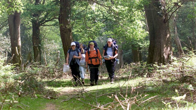 The Duke of Edinburgh's Award scheme, which always involved outdoor activities, was often a right of passage for teenagers, like these taking part in a walk in the New Forest in 2004
