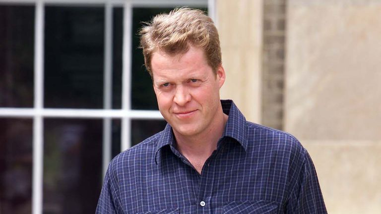 Earl Spencer stands outside Althorp, the family Home near Northampton