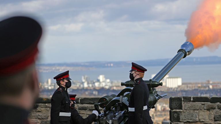 A view of the gun salute at Edinburgh Castle, a single round was fired followed by a single round a minute later to begin and end the National Minute Silence immediately before the funeral service of Britain's Prince Philip, husband of Queen Elizabeth, who died at the age of 99, in Edinburgh, Scotland, Britain April 17, 2021