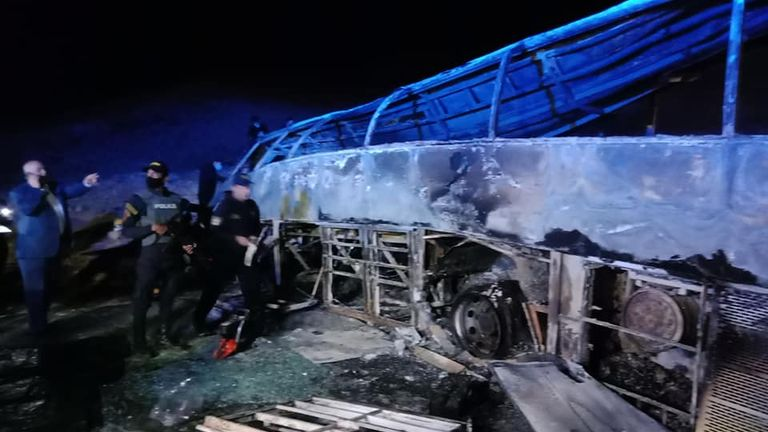 The bus caught fire after the crash. Pic: Facebook/assioutgovernorate