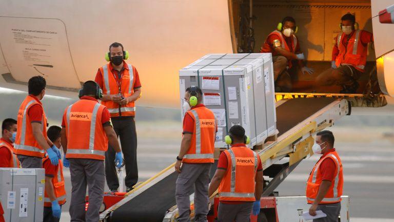 AstraZeneca vaccines are unloaded in El Savador under the COVAX scheme