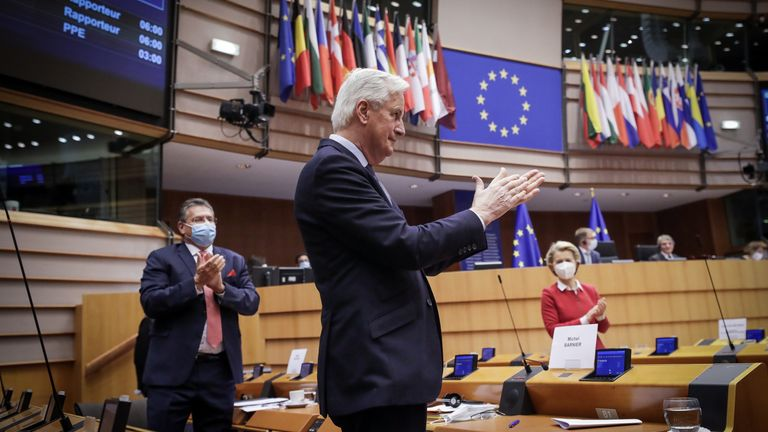 Michel Barnier attends the debate on the Brexit deal at the European Parliament in Brussels