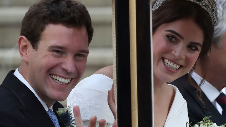 Princess Eugenie of York and Jack Brooksbank leaving the church after their wedding. Pic: AP