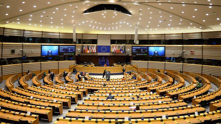 European Council President Charles Michel and European Commission President Ursula von der Leyen attend the EU Parliament plenary session in Brussels, Belgium April 26, 2021. REUTERS/Johanna Geron