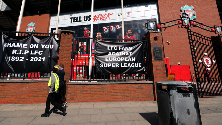 Banners outside Liverpool's Anfield ground show opposition to Super League plans