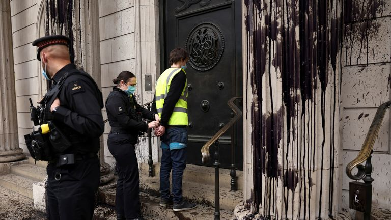 The five people arrested outside the Bank of England remain in custody, City of London police have said