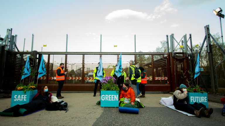 Handout photo issued by XR Scotland of an all-female group of protesters who have blocked the North Gate of the Faslane Naval Base in Gare Loch, near Helensburgh, as part of the International Peace Lotus Campaign. Issue date: Friday April 30, 2021.
