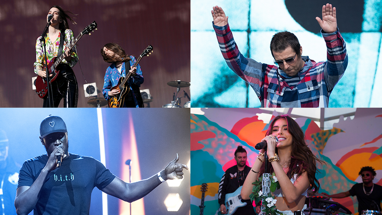 Haim, Liam Gallagher Stormzy and Madison Beer are among the acts at festivals this year. Pics: PA and AP