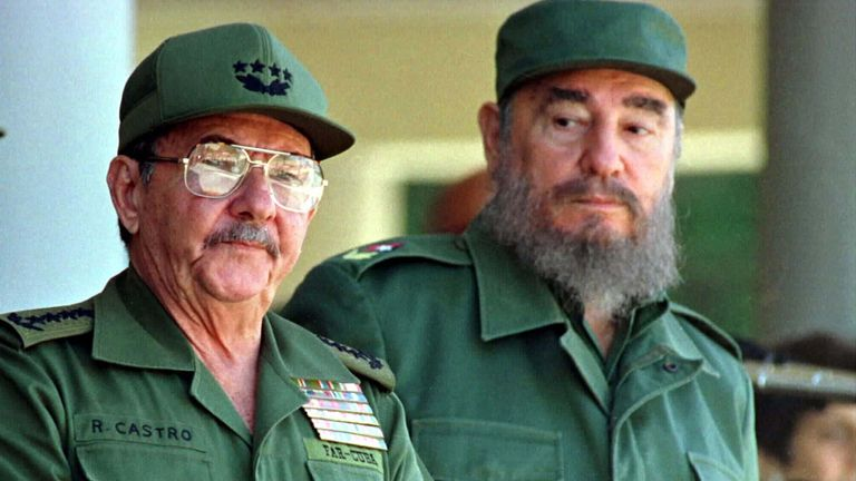 Raul, left, and Fidel Castro in 1996
