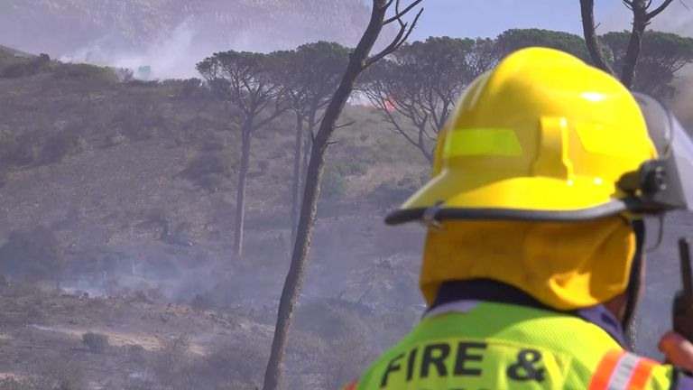About 250 city and volunteer firefighters were deployed to battle the fire