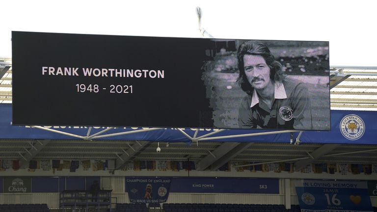 A minutes applause for Frank Worthington is observed before the Premier League match