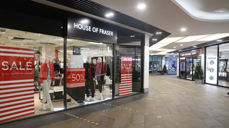 House of Fraser inside a quiet Crowngate Shopping Centre in Worcester during the Boxing Day sales. Boxing Day spending is expected to fall by more than a quarter compared with a year ago, after extensive new Covid-19 restrictions forced non-essential retailers to close