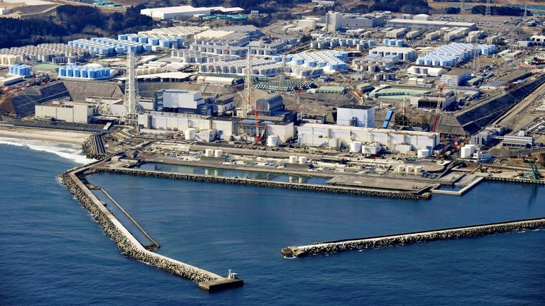 An aerial view shows the storage tanks for treated water at the Fukushima Daiichi nuclear power plant in Okuma town, Fukushima prefecture, Japan