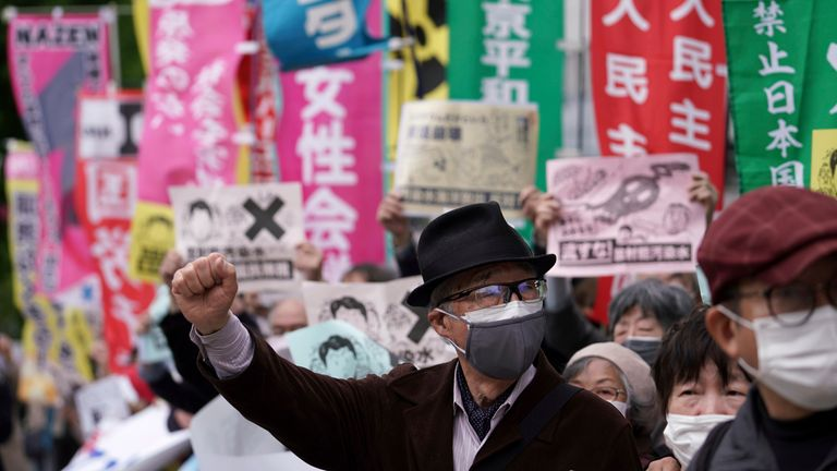 The Japanese people have been protesting against the move