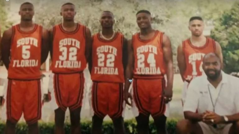 George Floyd (on the left in shirt number 5) in South Florida community college basketball team