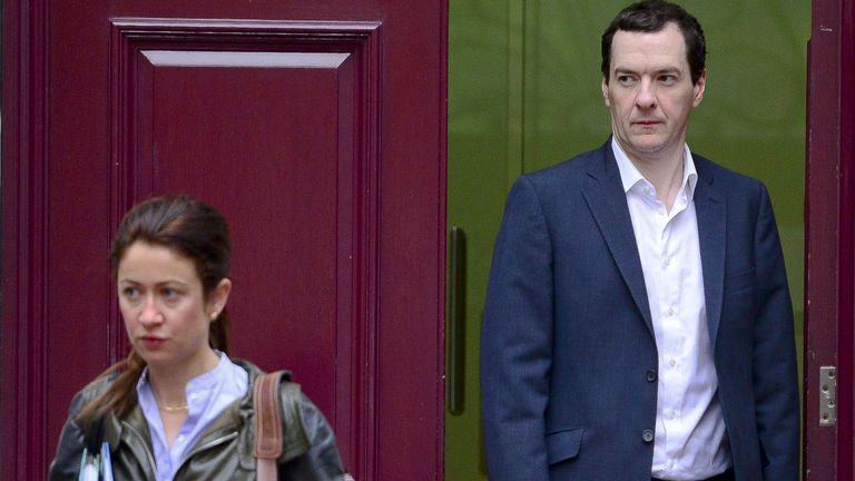 Ms Rogers and Mr Osborne leaving Tory HQ in 2015