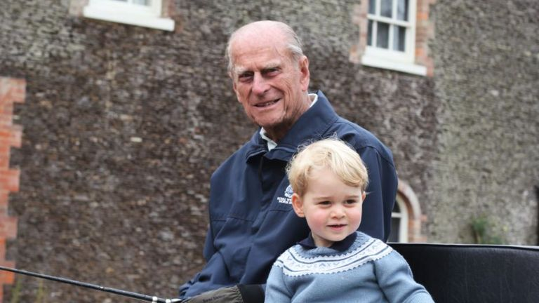 The Duke of Edinburgh pictured with Prince George in an image taken by the Duchess of Cambridge