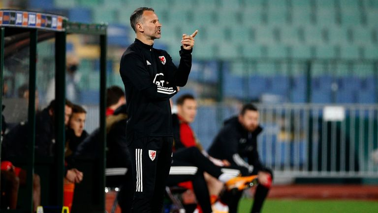 Wales' coach Ryan Giggs reacts during the UEFA Nations League soccer match between Bulgaria and Wales at Vassil Levski national stadium in Sofia, Bulgaria, Wednesday, Oct. 14, 2020. (AP Photo/Anton Uzunov)