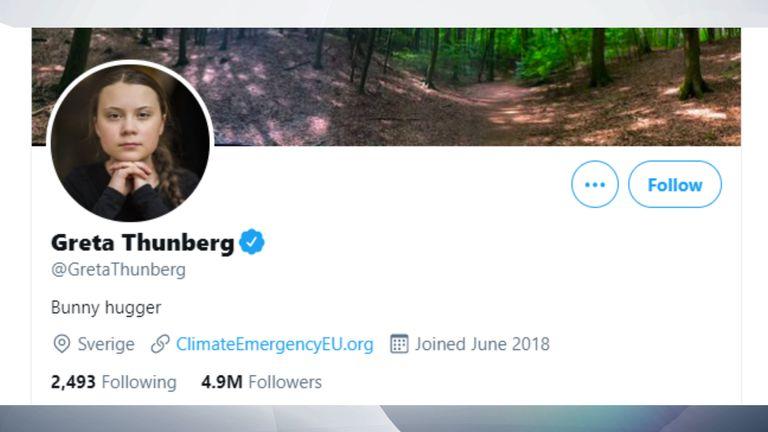 Greta Thunberg's Twitter account