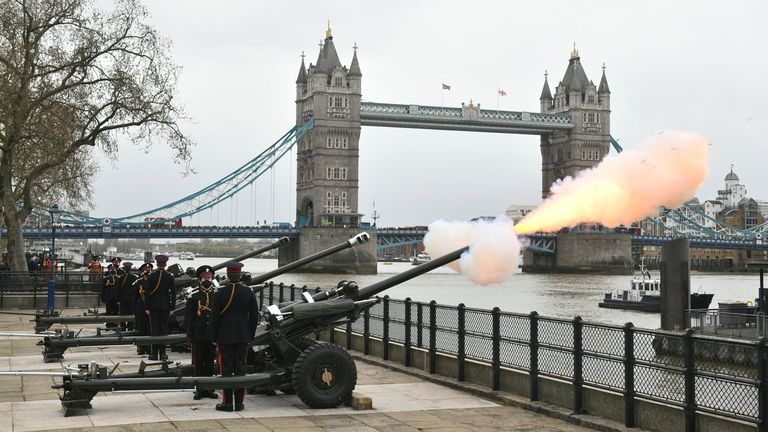 Rounds have been fired from the wharf at the Tower of London