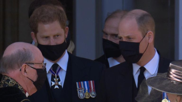Harry and William speak following Prince Philip's funeral