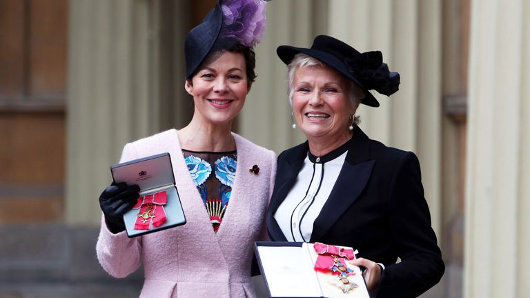 Dame Julie Walters (right) and the late Helen McCrory  after they awarded a Damehood and OBE respectively in 2017