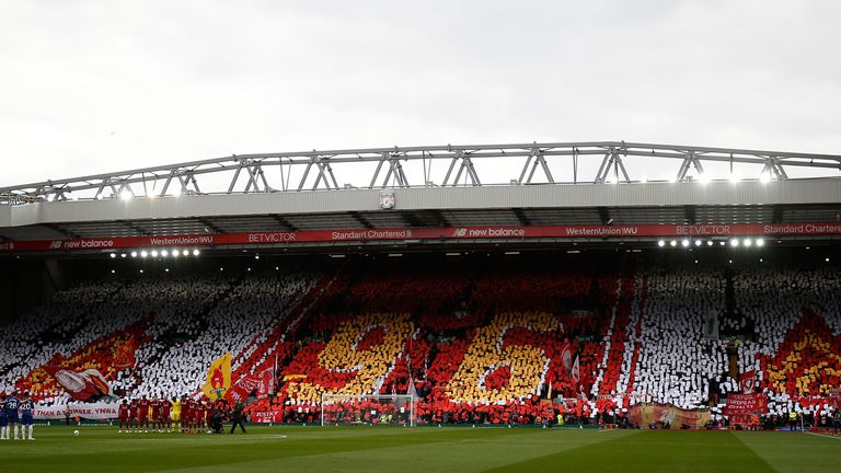 Fans create a mural before kick off on the eve of the 30th anniversary of the Hillsborough tragedy during the Premier League match at Anfield, Liverpool. Picture date: 14th April 2019. Picture credit should read: Andrew Yates/Sportimage via PA Images