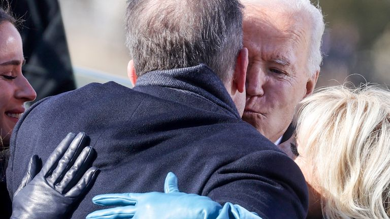 Hunter hugs Joe Biden at his father's inauguration as the 46th US president in January