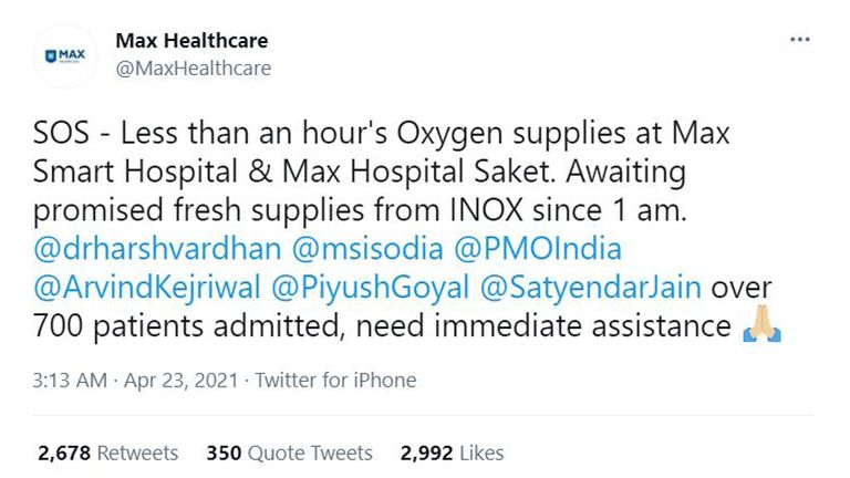 Hospitals have been pleading for supplies on Twitter. The two hospitals named here are both situated in New Delhi.