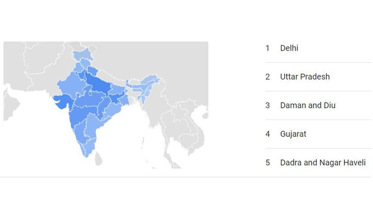 Over the past week, five of the most active areas searching for oxygen included Delhi and Uttar Pradesh. Pic: Google Trends