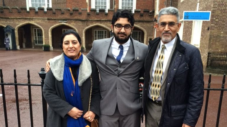 Inzamam and his parents at St James's Palace in 2014