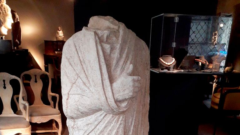 The statue is believed to be worth 100,000 (£860,000) and was stolen from an archaeological site near Rome. Pic: AP