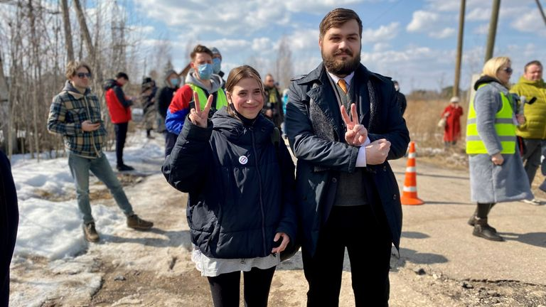 Activist Ivan Tumanov, next to an unnamed girl
