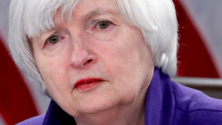 FILE PHOTO: Janet Yellen speaks at a news conference in Washington, U.S. December 13, 2017. REUTERS/Jonathan Ernst//File Photo