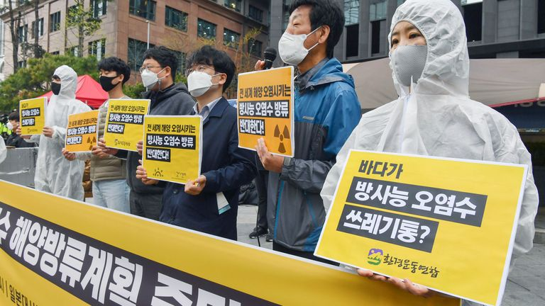 People in Japan have been protesting the government's decision to to release more than one million tonnes of radioactive water into sea. Pic AP