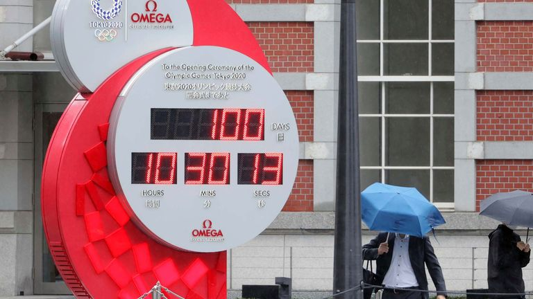 The countdown clock starts on the last 100 days before the Olympics begins