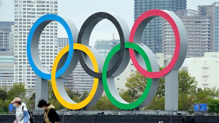 The Olympic rings in Tokyo's Daiba waterfront area on the same day North Korea said it will not take part in the games